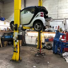 Smart Car being MOT'd